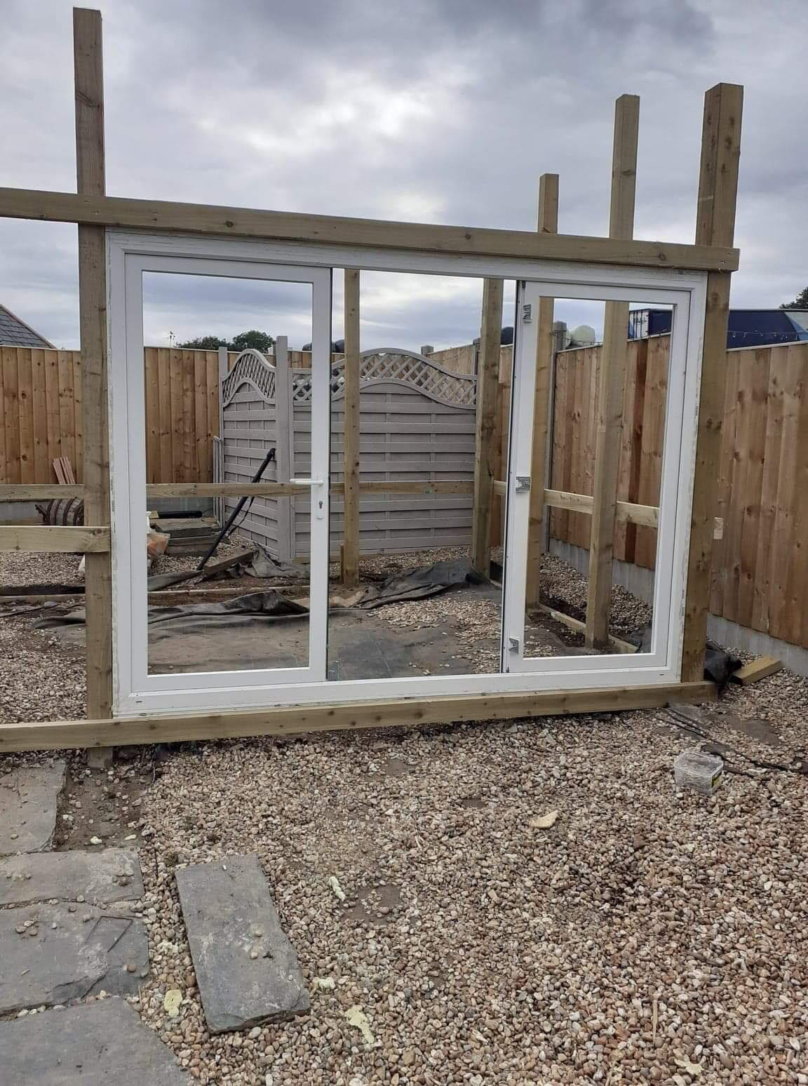PVC windows, wooden frame of cabin.
