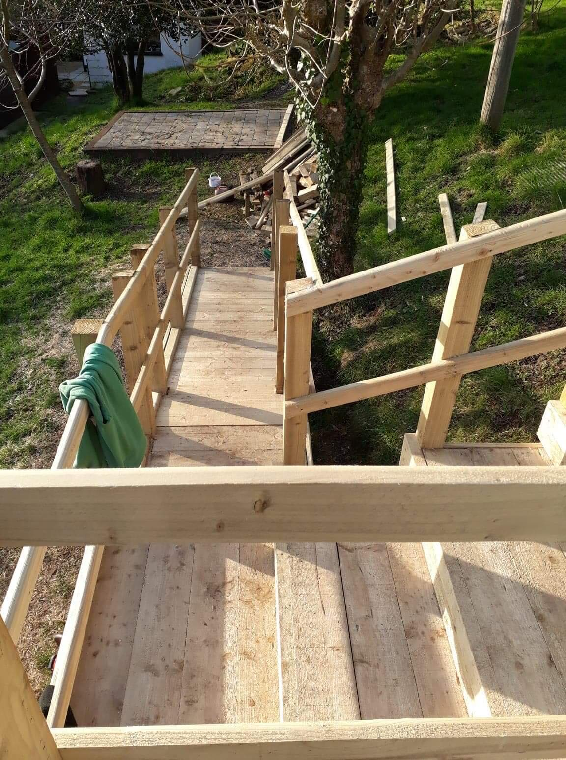 Decking - Pathway, fencing and stairs leading to deck